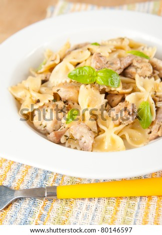 Pasta with Chicken and Fresh Basil - stock photo