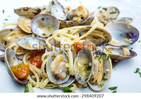 Pasta with Clam Dish on a the table - stock photo