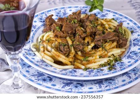 Pasta with Goulash - stock photo
