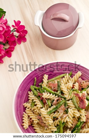 pasta with ham and green beans - Italian Cuisine - stock photo