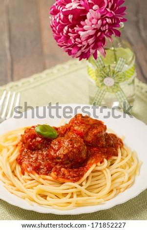 pasta with meatballs - stock photo
