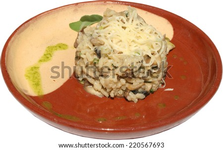 Pasta with mushrooms, cheese and herbs, served in Traditional  plate - stock photo