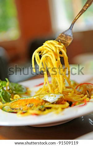 pasta with mussel - stock photo