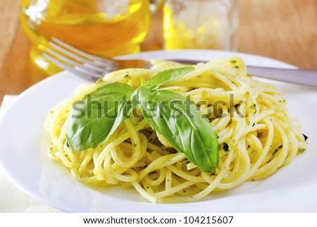 pasta with pesto - stock photo