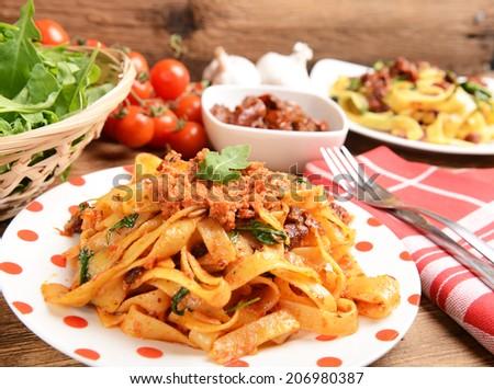 pasta with red pesto - stock photo