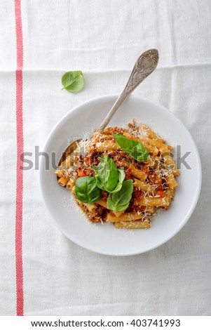 pasta with red sauce, food above - stock photo