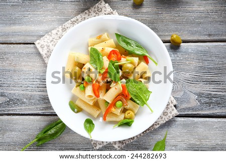 Pasta with roasted peppers, vegetable - stock photo