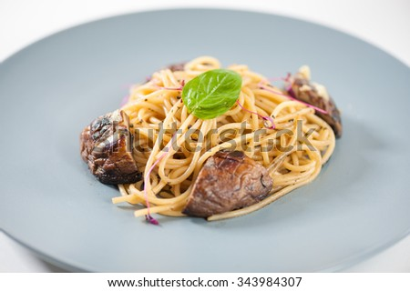 Pasta with Shiitake (Mushroom), Chinese food in European style - stock photo