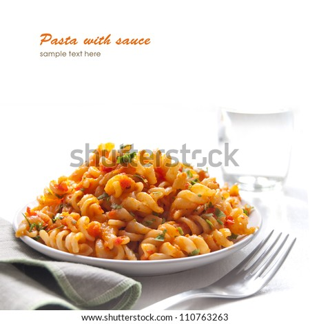Pasta with tomao sauce with vegetable - stock photo