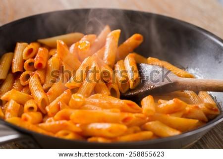 Pasta with tomato sauce - stock photo
