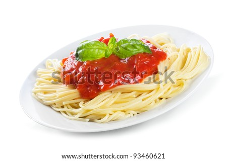 Pasta with tomato sauce and basil on white background - stock photo
