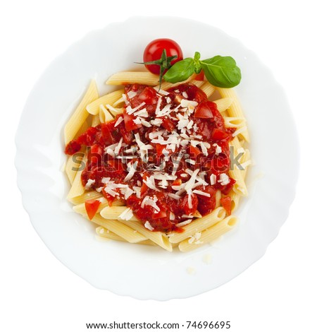 pasta with tomato sauce and grated cheese on plate isolated - stock photo