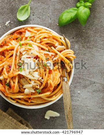 Pasta with Tomato Sauce. Pasta al Pomodoro - stock photo