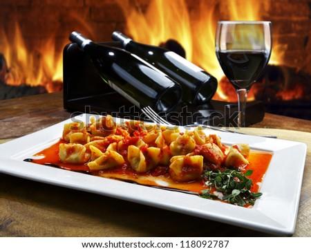 pasta with vino - stock photo