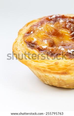 Pasteis de Belem, Nata, Portuguese Cake, white background - stock photo