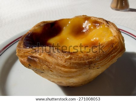 Pasteis de Belem, typical portuguese custard pies. - stock photo