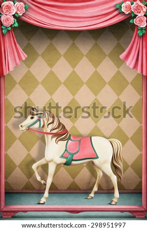 Pastel background with horse - stock photo