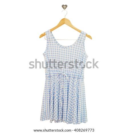 Pastel Blue Dress on wood hanging - stock photo