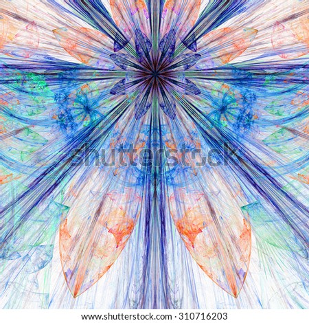 Pastel blue,teal,red,purple exploding flower/star fractal background with a detailed decorative pattern, all in high resolution. - stock photo