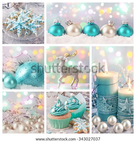 Pastel colored christmas decoration collage - stock photo