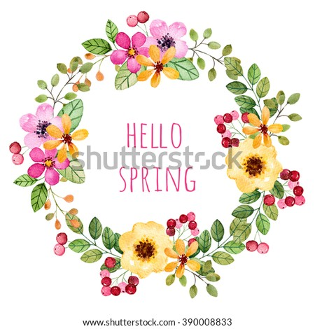 """Pastel colors wreath with multicolored flowers,leaves,feathers,berries, branches,and more.Pastel collection.Perfect for wedding,frame,quotes,pattern,greeting card and more.""""Hello spring"""" template card - stock photo"""