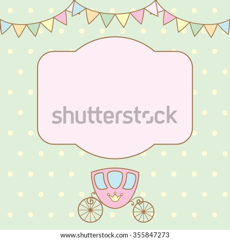 Pastel colour retro polka dot background with frame for text or photo, multicolored buntings garlands and carriage. Raster version. - stock photo