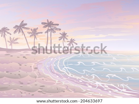 Pastel dream holiday on a beach with sand, sea and palm trees  - stock photo