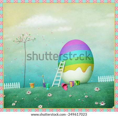 Pastel festive background or poster with egg and rainbow - stock photo