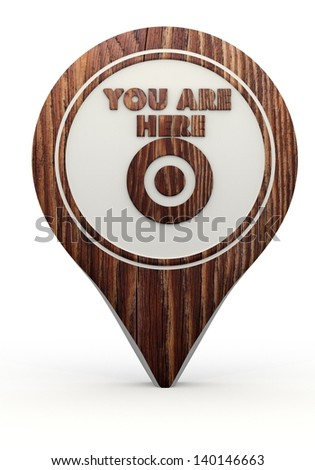 Pastel gray  icon navigation 3d graphic with ecological you are here sign on a set of wooden  markers - stock photo