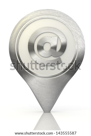 Pastel gray  stylish e-mail 3d graphic with symbol email sign on a chrome map marker - stock photo