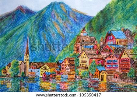 Pastel Painting - Austria Hallstatt - stock photo