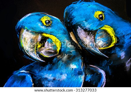 Pastel painting of a blue parrots on a cardboard. Modern art - stock photo