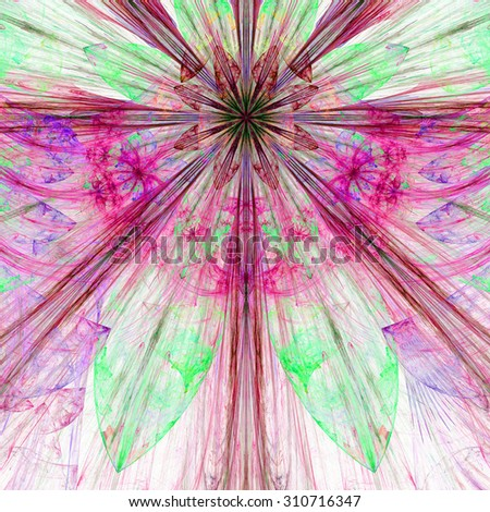 Pastel pink,purple,green exploding flower/star fractal background with a detailed decorative pattern, all in high resolution. - stock photo