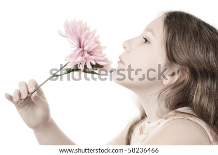 Pastel portrait of romantic girl with pink flower isolated on white background - stock photo