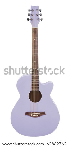 Pastel Purple Acoustic Cutaway Girlie Guitar - stock photo