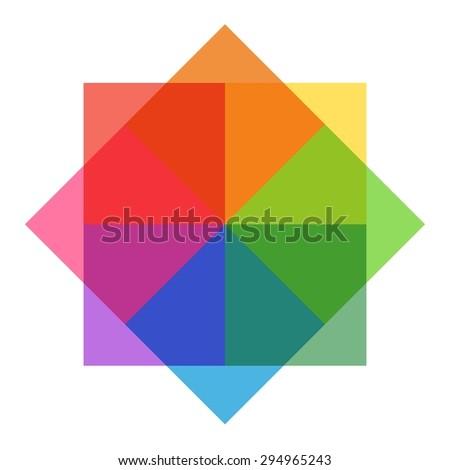 Pastel Rainbow Sqares - stock photo