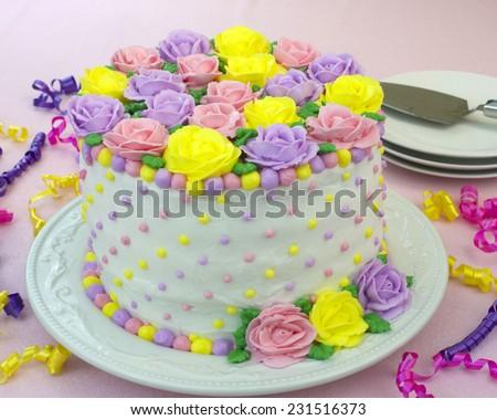 Pastel Rainbow Yellow, Pink, Purple butter cream frosting handmade ...