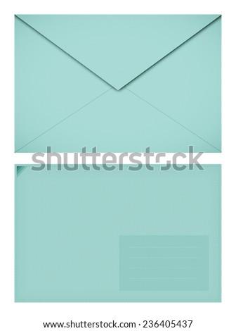 Pastel textured paper envelope - stock photo
