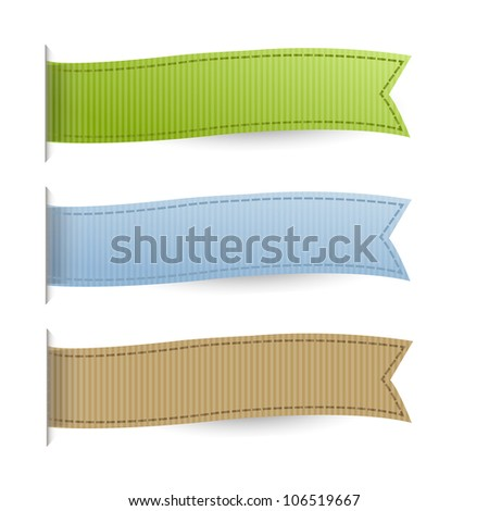 Pastel Web Ribbons Set, Isolated On White Background - stock photo