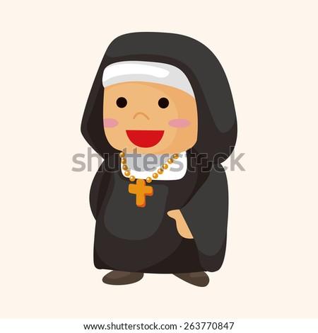 pastor and nun theme elements - stock photo
