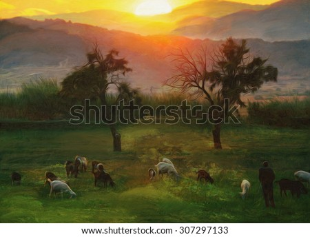 pastoral autumn oil paint representing sunset over the farmland  - stock photo