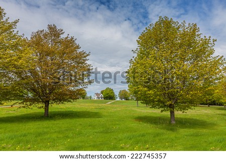 Pastoral country landscape in rural Prince Edward Island, Canada. - stock photo