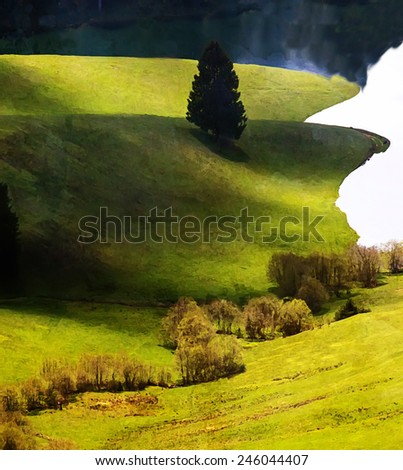 pastoral digital created painting with  meadows near lake - stock photo