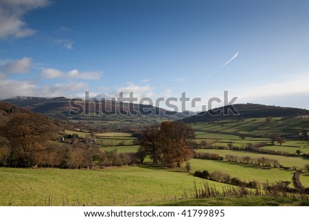 Pastoral Welsh countryside on the edge of the Brecon Beacons - stock photo