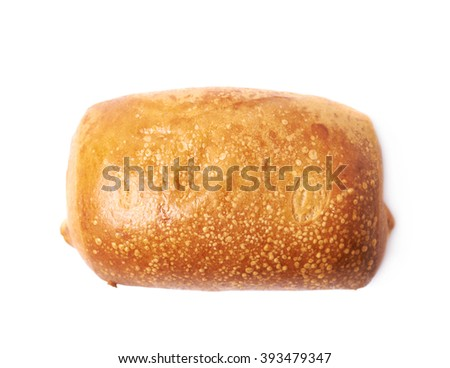 Pastry pocket with sausage isolated - stock photo