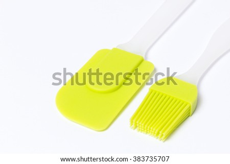 Pastry silicone set (spatula and brush) over white background - stock photo