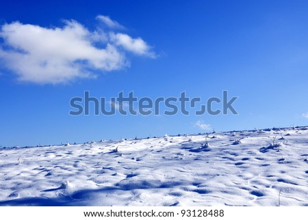 Pasture field and sky in winter, Webster County, West Virginia, USA - stock photo