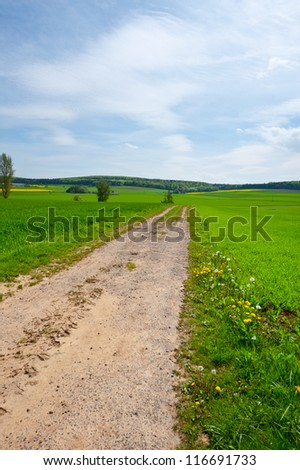 Pasture in Southern Bavaria, Germany - stock photo
