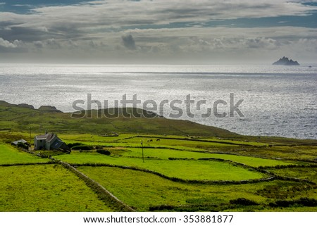 Pastures at the Coast of Ireland - stock photo