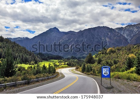 Patagonia, southern Argentina. The famous Route 40 paved road parallel to the Andes - stock photo